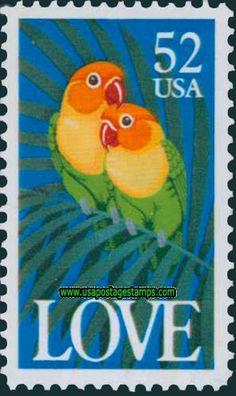 Love Stamp:Parrots 1991  52c Fischer