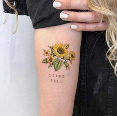 50 beautiful tattoo designs you will want - Sunflower tattoos -. - 50 gorgeous tattoo designs you& love – sunflower tattoos – - Diy Tattoo, Form Tattoo, Shape Tattoo, Sunflower Tattoos, Sunflower Tattoo Design, Flower Tattoo Designs, Sunflower Tattoo On Wrist, Colorful Sunflower Tattoo, Small Colorful Tattoos