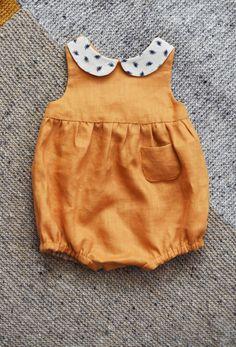 Beautiful Handmade Linen Romper | TsiomikKids on Etsy