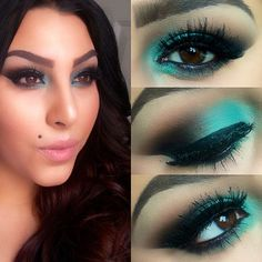 Another look at today's #motd #makeup #turquoiseeyeshadow #blue #green #smokeyeyes #face #fullface #mac #maccosmetics #elf #elfcosmetics #nyx #nyxcosmetics #coastalscents #coastalscentspalette - @makeupby__dee- #webstagram