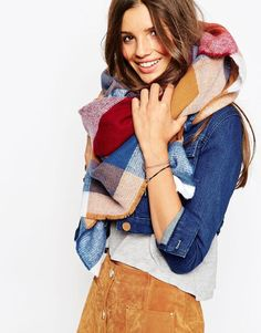ASOS | ASOS Oversized Square Scarf In 70s Check at ASOS