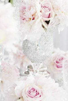 so glam. rhinestones glasses with pale pink roses. great decor.