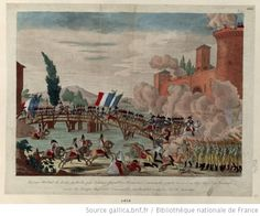 Passage of the bridge at Lodi by the French republican army commanded by the general-in-chief Napoleon Bonaparte, artist unknown, circa 1796. Napoleon, on a white horse, is at the head of the advancing column.