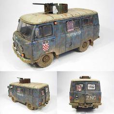 """Croatian Armoured UAZ"" 1/35 scale. By Lukask Misialek. UAZ-452 #model_cars #scale_mode #plastimodelismo #usinadoskits #udk #terminator #miniatura #miniature #maqueta #modelismo #plastickits #hobby http://modelismoymodelistas.blogspot.jp/2012/09/army-croatian-armoured-uaz-esc-135-by.html"