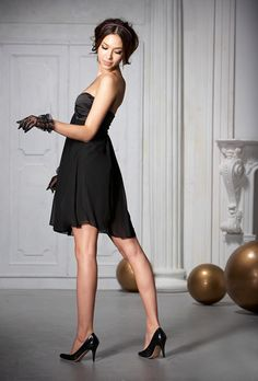 Party Dresses Stylish Black Chiffon Draped Strapless Dress