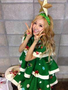 Ellin dressed up as christmas tree