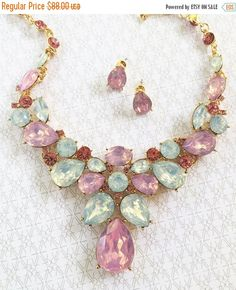 Wedding jewelry bridesmaid jewelry set Bridal by GlamDuchess  softer take on color for 2016: For the first time, the blending of two shades – Rose Quartz and Serenity are chosen as the PANTONE Color of the Year