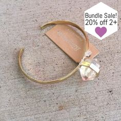 LAST ONE! Crystal Stone Cuff Bracelet This bracelet is absolutely gorgeous! Stack it with others for a beautiful arm candy look, or wear it alone for simple beauty!   [BUNDLE] for 15% off!  ❌No trades, PayPal, Holds Instagram: @lovelionessie Jewelry Bracelets