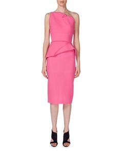 One-Shoulder+Peplum+Sheath+Dress,+Candy+Pink+by+Roland+Mouret+at+Neiman+Marcus.