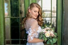 A stunning grey wedding dress with white lace flowers that goes very nice with a greenery bridal bouquet, designed by Oana Lupas Flower Bouquets, Bridal Flowers, Lace Flowers, Gray Weddings, Bridal Portraits, Jewelries, Designer Wedding Dresses, Beautiful Bride, Bridal Jewelry