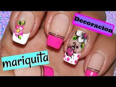 Trendy Fails Art Paso A Paso Mariposa Flower Nail Designs, Glitter Art, Pink Design, Flower Nails, Summer Diy, Manicure And Pedicure, Toe Nails, You Nailed It, Ladybug
