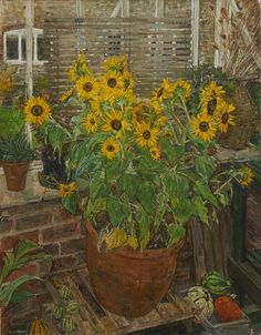 "Olwyn Bowey, R.A. (British, b. 1936) - ""Sunflowers"" - Oil painting"