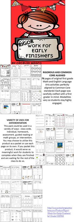 76 pages of original first grade Math and English Language Arts activities perfectly aligned to Common Core standards! Each page was carefully crafted with a first grader in mind. Modalities vary so students stay highly engaged.