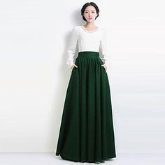 ocasional de cintura alta moda vintage plissada verde quente saia longa de lã das mulheres - BRL R$ 537,61
