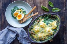 Oeufs à la florentine Gluten Free Recipes, Healthy Recipes, Entrees, Veggies, Vegetarian, Breakfast, Blog Thermomix, Parfait, Table