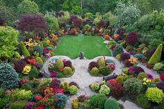 Evergreen garden w/azaleas in bloom
