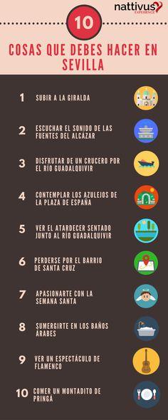 10 Cosas que debes hacer en tu viaje a Sevilla. Una vez las has hecho podrás decir que has vivido Sevilla. #Sevilla #cosasquehacerensevilla www.nattivus.com  *Designed by Freepik from www.flaticon.com*