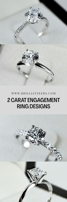 The 2 Carat Diamond is the perfect size for an engagement ring that makes a statement, without it ever feeling uncomfortable to wear. Here are all of our engagement rings designed with 2 Carat Diamond center stones. 2 Carat Engagement Ring, Engagement Rings Princess, Engagement Wedding Ring Sets, Designer Engagement Rings, Diamond Wedding Bands, Wedding Rings, Round Cut Diamond Rings, Diamond Cuts, Or Rose