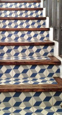 Risers get a graphic op-art touch with ceramic tiles from the Tile of Spain manufacturer Vives.