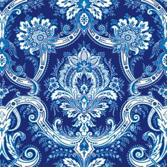 Anna Griffin - Willow Collection - 12 x 12 Flocked Paper - Blue Damask at Scrapbook.com $1.59