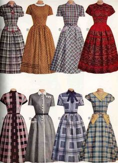Wonderful plaid and other patterned short sleeve day dresses from Montgomery Ward, 1956. #vintage #1950s #fashion