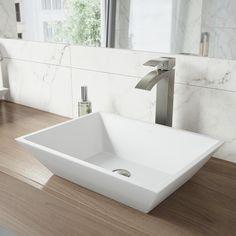 VIGO Matte Stone White Plastic Rectangular Vessel Bathroom Sink with Faucet Above Counter Bathroom Sink, Bathroom Sink Drain, Master Bathroom, Square Bathroom Sink, Downstairs Bathroom, Bathroom Storage, Redo Bathroom, Stone Bathroom, Bathroom Grey