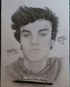 Ethan Dolan drawing  Dolan twins  Graphite drawing/Follow my IG for more @rawandrawings