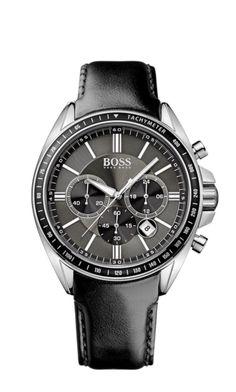 17a32172e89cb Boss - 1513085 - Montre Homme - Quartz Chronographe - Bracelet Cuir Noir