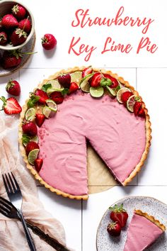 This vegan, gluten-free Strawberry Key Lime Pie by Bakerita is the perfect summer dessert! It's gluten-free and vegan with a simple no-cook filling. The strawberries make the filling a bright and beautiful color, and their sweet flavor pairs perfectly with the tart key limes.  #californiastrawberries #keylimepie #pierecipe #summerdessert #glutenfree #paleo #vegandessert #dairyfreedessert #glutenfreedessert #nobakepie #strawberrypie #keylime #dessertrecipe Gluten Free Desserts, Vegan Desserts, Just Desserts, Delicious Desserts, Yummy Food, Baking Recipes, Real Food Recipes, Dessert Recipes, Strawberry Desserts