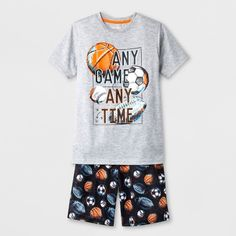 de13cd0c5b5 Boys  2pc Sports Graphic With Any Game Any Time Wordings Pajama Set - Cat    Jack Grey M