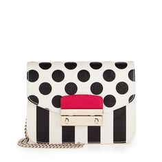 """Furla Julia Mini Crossbody Bag Furla saffiano leather crossbody bag in striped and polka-dot print. Golden hardware. Removable chain shoulder strap, 22.5"""" drop. Flap top with pinch-lock clasp. Logo-engraved metal bar. Interior, logo jacquard lining; three card slots. 4.8""""H x 6.8""""W x 3""""D; weighs 14.3 oz. Color: ONYX+PETAL. Brand new with tag! Perfect for spring and summer! Sold out everywhere! Furla Bags Crossbody Bags"""