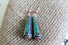Tibetan Drop Dangle Earrings with Detailed Turquoise, Coral, Lapis Lazuli & Silver Design