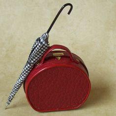 1:12 Scale Miniature Luggage / Ladies' Red Hatbox Tote. $30.00, via Etsy.