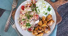 Griekse rijstsalade met kipgyros en tzatziki | OhMyFoodness