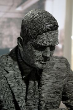 UK sculptor Stephen Kettle works primarily with thin pieces of stone slate, using the material to build figures, busts, animals, and other objects. His most famous piece is a sculpture of Alan Turing (first four images) on display at Bletchy Park in Britain. The piece took 18 months to build and wei