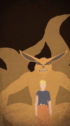 Kurama and Naruto Minimal Mobile Wallpaper