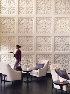 Hotel Taj Tashi [Thimphu, Bhutan] I would love to have an accent wall like this in my home! 3d Interior Design, Interior Walls, Home Design, Interior Architecture, Interior And Exterior, Interior Modern, Design Design, Painted Wood Walls, Wood Panel Walls