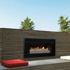 Escea Outdoor Gas Black Granite Fireplace