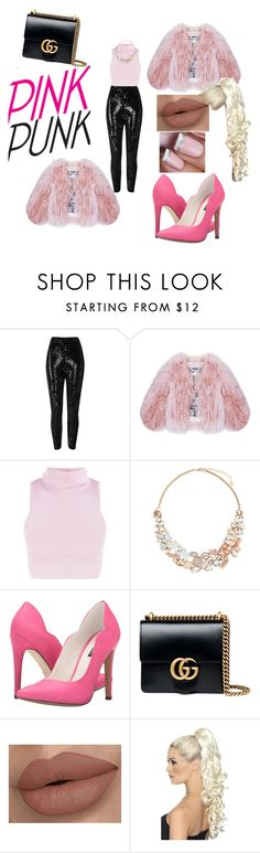 """""""pink love"""" by bilmari ❤ liked on Polyvore featuring River Island, Florence Bridge, Accessorize, Michael Antonio and Gucci"""