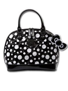 59fcaa5b22 Buy Hello Kitty Embossed Polkadot Handbag new - Hello KittyA dome handbag  featuring a shiny polka dot patent exterior embossed with Hello KittyA  graphics in ...