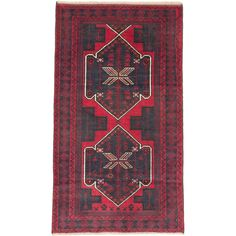 eCarpetGallery Royal Baluch Cream/Dark Brown/Navy /Red Hand-knotted Rug