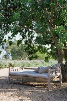 In summer, no mood can be better than your favorite sofa under a shadowy tree.