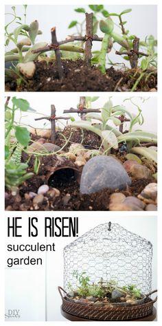 He is Risen! succulent garden at diyshowoff.com