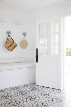 House 11 - Colour Me Hamptons Entrance, Renovation, House Transformation, Tile Inspo, White Interiors, Bench Seat