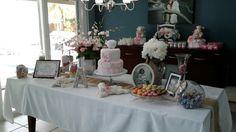 Dessert table and cake table #lambbabyshower #pinkandwhitebabyshower #babyshowercake #babyshowerdesserttable