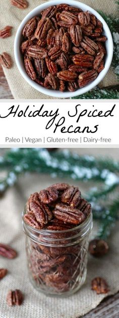Holiday Spiced Pecans are roasted to perfection and infused with a blend of spices. Eat them as is, add them to a salad or package them in a mason jar for a special holiday gift   Paleo   Vegan   Gluten-free   Dairy-free   paleo holiday snacks   vegan holiday snacks   gluten-free holiday snacks   dairy-free holiday snacks    The Real Food Dietitians #paleosnacks #glutenfreeholiday #veganholiday