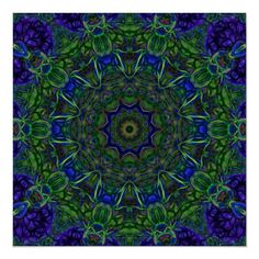 Cobalt Blue and Emerald Green Abstract Tile 103 Poster