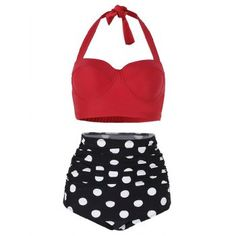OFF] 2020 Polka Dot Ruched Halter Bikini Set In beach outfit vacation bea Halter Bikini, Bikini Swimwear, Bikini Pics, Summer Swimwear, Vintage Swimsuits, Two Piece Swimsuits, Modest Swimsuits, Teen Swimsuits, Nylons
