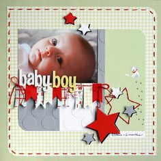 "#papercraft #scrapbook #layout. Baby Boy scrapbooking 12""x12"""