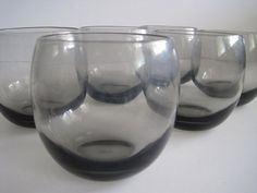 Roly Poly Smoke Gray Low Ball Glass Set of Six by cityfleas, $45.00